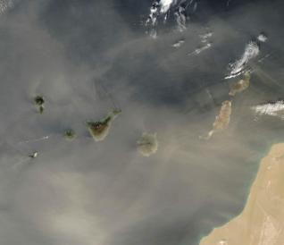 Calima wind going from Sahara desert across the Atlantic
