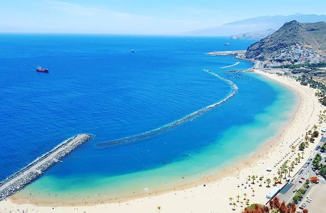 – on the private VIP tour with @tenerifehost in Tenerife, view on the Playa de Las Teresitas in San Andres.